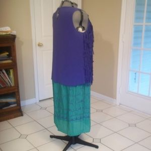 Lapis Skirts - Jewel Green and Blue High Cinch-Waist Maxi Skirt